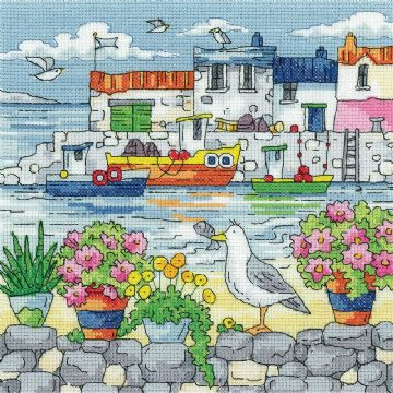 Heritage Crafts Karen Carter Collection Cross Stitch Kit - Geranium Shore
